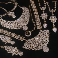 WEDDING INDIAN BRIDAL SIMULATED DIAMOND BIG STONE GOLD ...