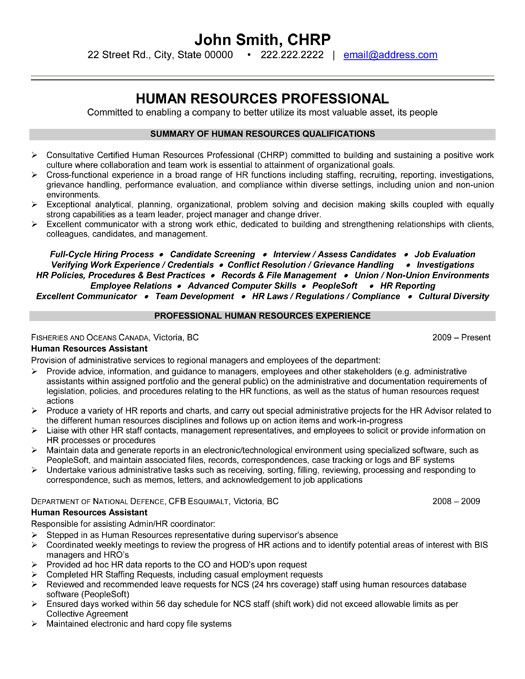 example hr business partner resume