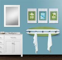 Kids Beach Bathroom Print Set and Surfboard Towel Rack ...