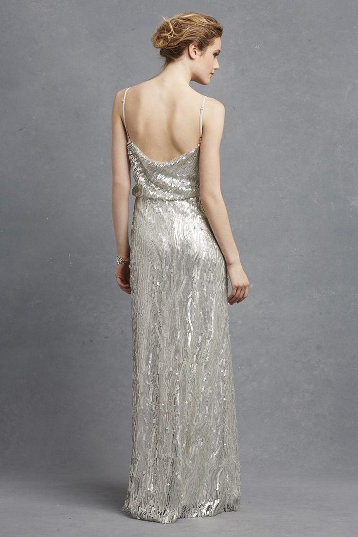 Donna Morgan Courtney silver bridesmaid dress