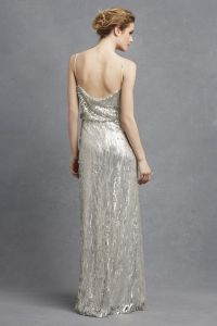 Donna Morgan Courtney silver bridesmaid dress