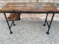 """Reclaimed Wood Desk Table - Solid Oak W/ 28"""" Black Iron ..."""