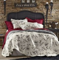French Country Full Queen Quilt Set Parisian Black Toile ...