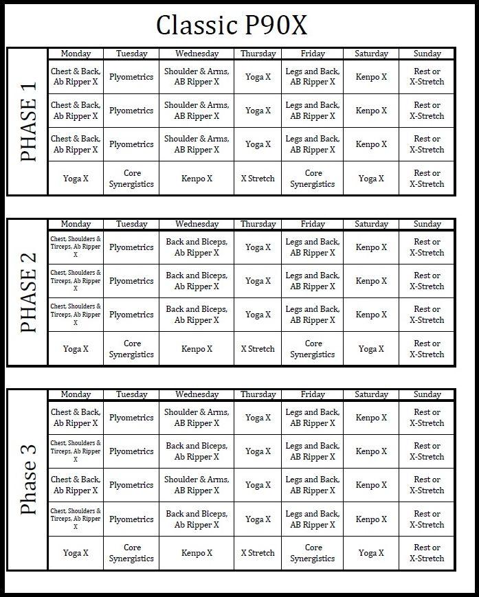 P90x Classic Workout Schedule Printable Deby Blog - sample workout calendar