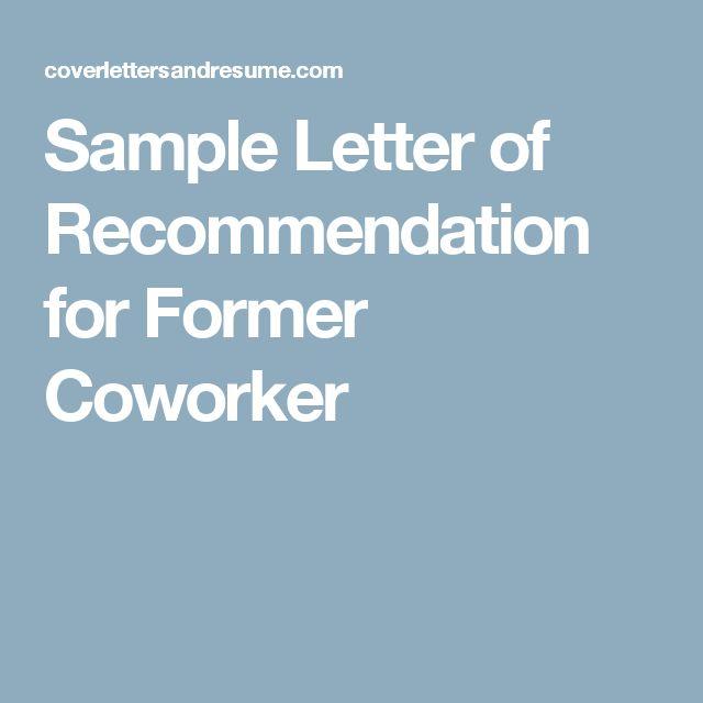 sample recommendation letter for coworker