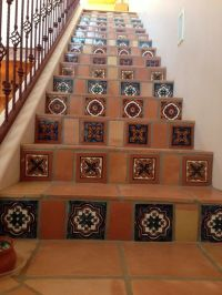 Mexican tiles - hand painted and Saltillo, in stairs to ...