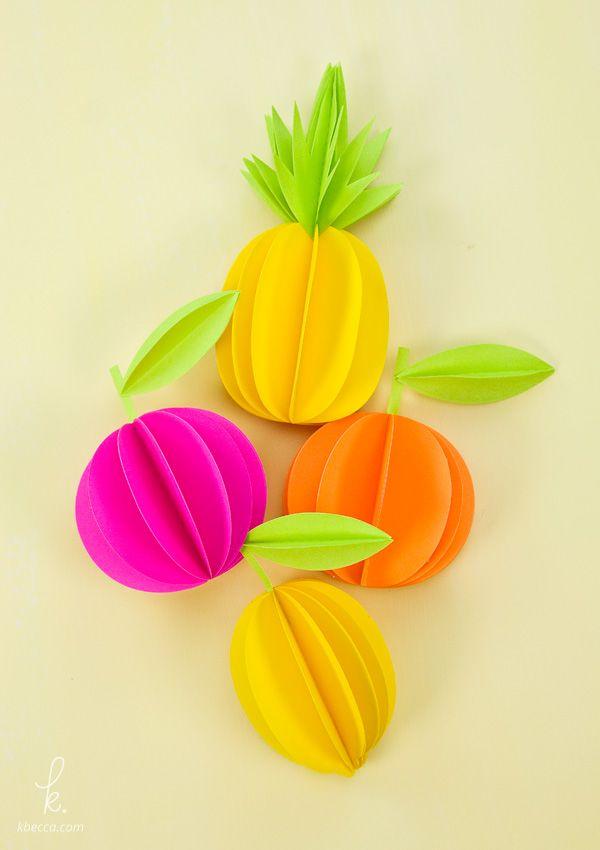 3d P Letter Wallpaper 3d Paper Pineapple Amp Citrus Fruits Free Templates