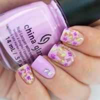 Violet Nails with Bow Rhinestones | We Heart It | nails ...