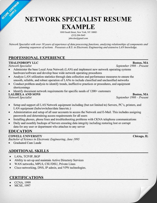 it specialist resume examples