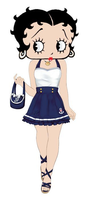 Navy Pin Up Girl Wallpaper Betty In A Short Blue Amp White Dress Cartoons Bettyboop