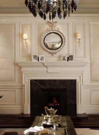 Fireplace mantle and federal mirror with sconce lighting ...