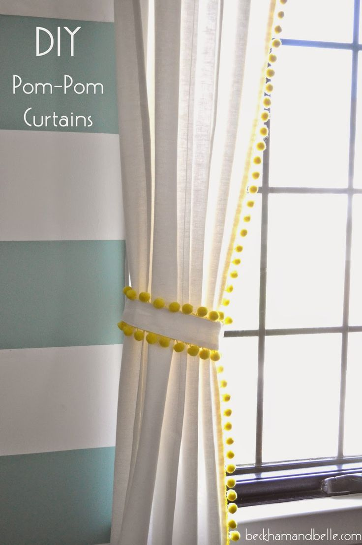 Ikea Window Panels Diy $15 Pom-pom Trim Curtains | Diy Pom Poms, Pom Poms And