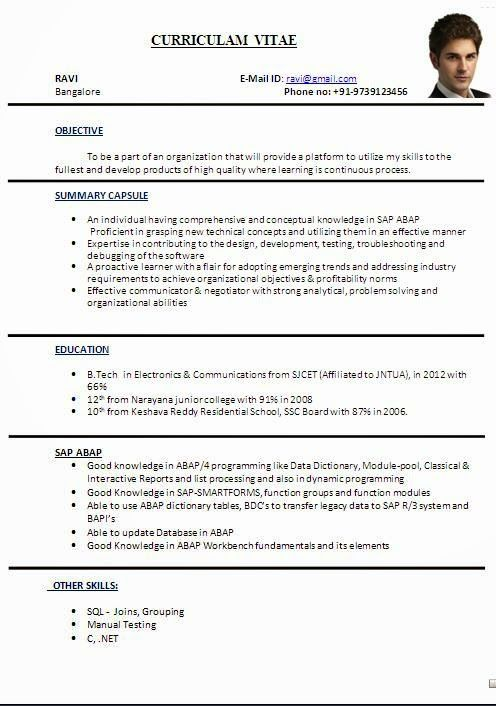 sample resume for freshers pdf