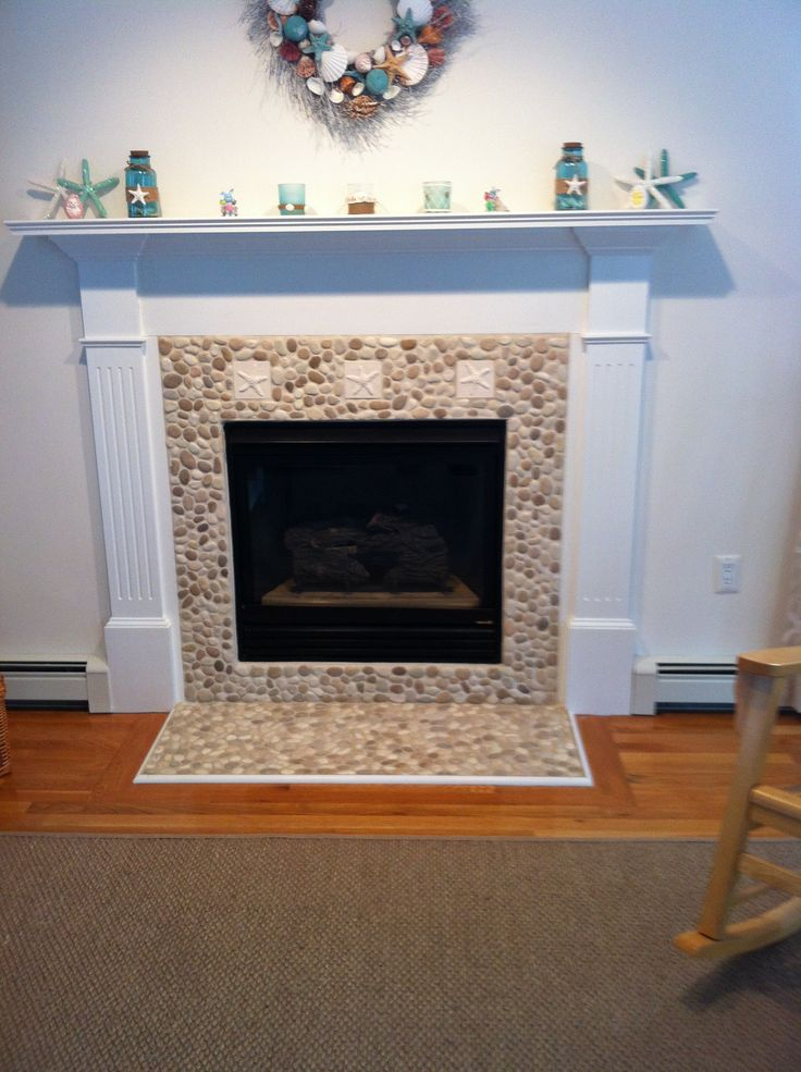 75 Best Images About Fireplaces Pebble And Stone Tile On