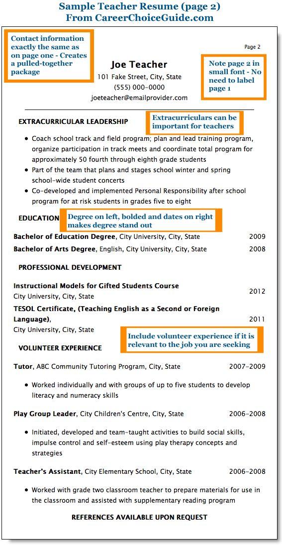 combination resume sample for teachers