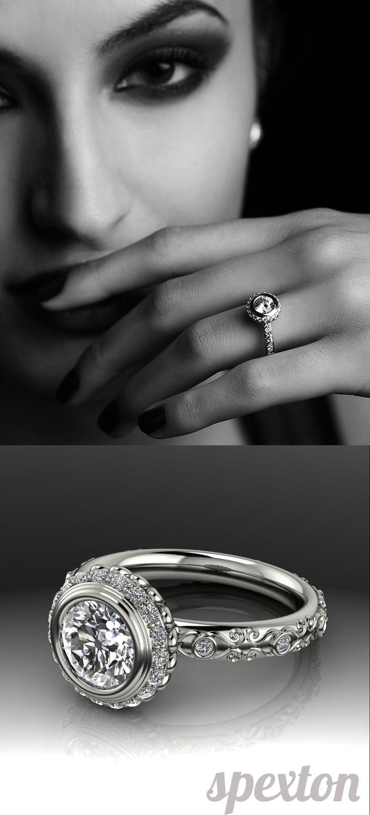 vintage inspired wedding rings wedding ring stores Vintage Halo Bezel Engagement Mounting