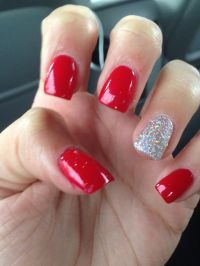 Acrylics! Red with glitter nail on ring finger | Things to ...