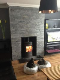 split face slate fireplace