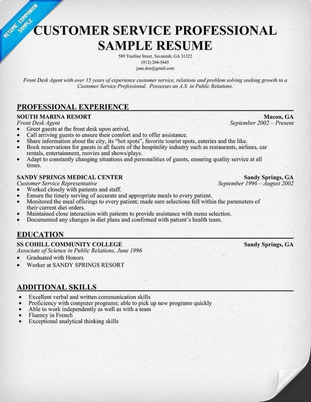 resume samples 2014 customer service