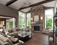 Living Room Exposed Beams Design, dark beams, white trim ...