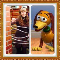 Slinky dog costume. Hand knitted slinky beanie hat. Hand