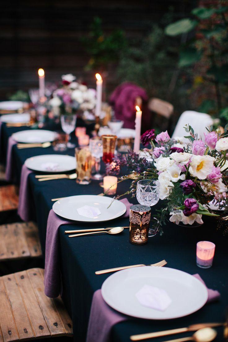 Midnight blue and purple wedding