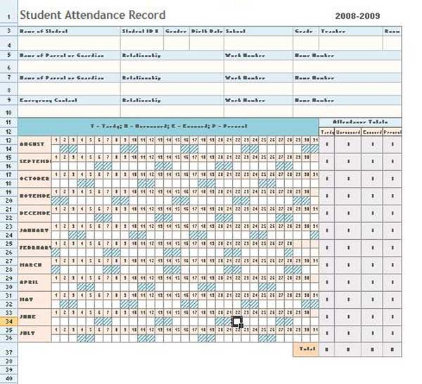 employee attendance tracker template excel - employee attendance record template