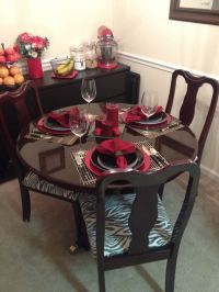 Dining room table set up with refurbished table and ...