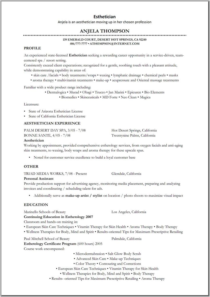 sample resume esthetician no experience