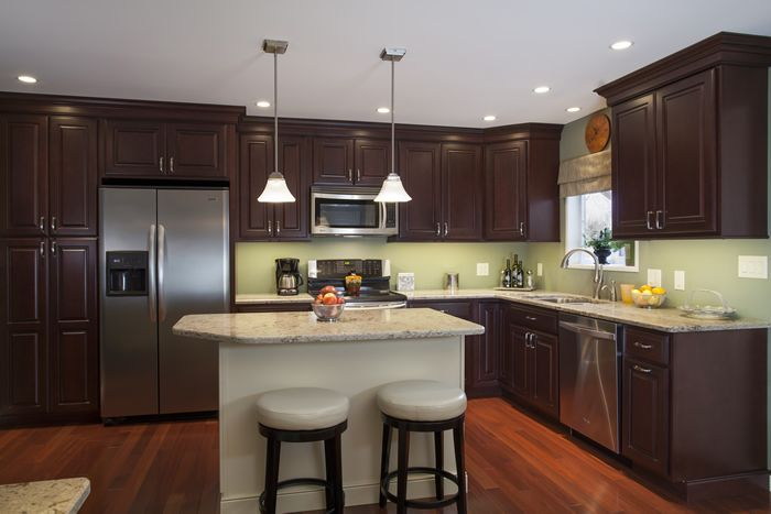 Kitchen Island Ideas With Bar Cabinets: Bordeaux Maple, Standard Overlay Using Square