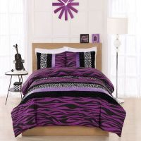 teen twin Bedding for Girls | Twin Cosmo Girl Purple Zebra ...