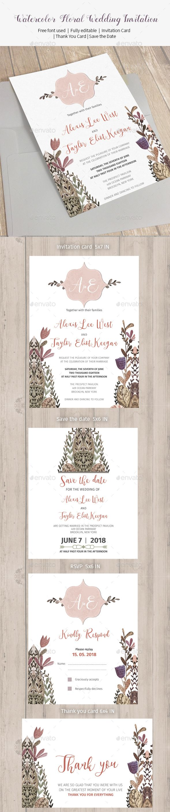 wedding invitation templates wedding invitation software Watercolor Floral Wedding Invitation