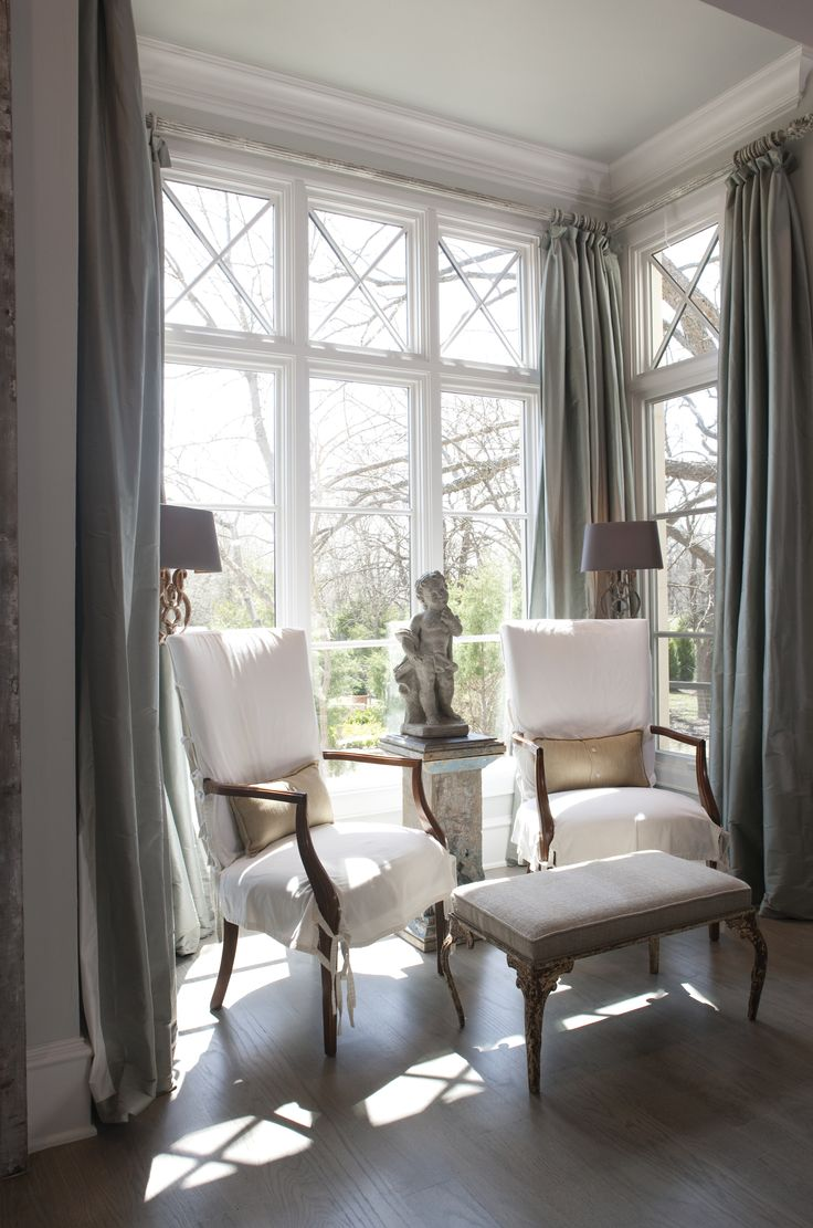 Bay Window Traditional Curtains Chicago On Coral And Blue Living Room