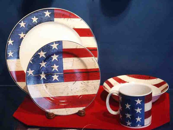 Patriotic American Flag Dishes Merica Pinterest