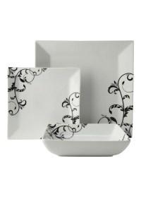 Matalan - Swirl Pattern Square 12 Piece Box Set in white ...