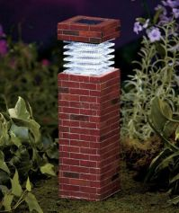 "Post Light Brick 11"" Solar Garden Pillars Pathway Driveway ..."