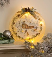 Glass Winter Cabin Light Holiday Dcor | Indoor Holiday ...