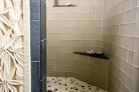 Island Stone USA Frosted Glass Tile Pebble Tile Shower ...