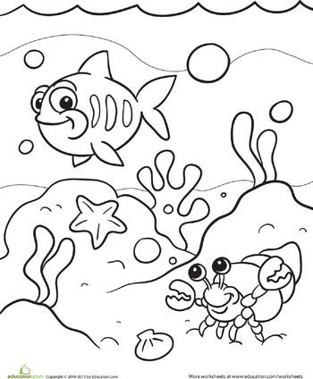 Under the sea coloring page coloring for kids and read more