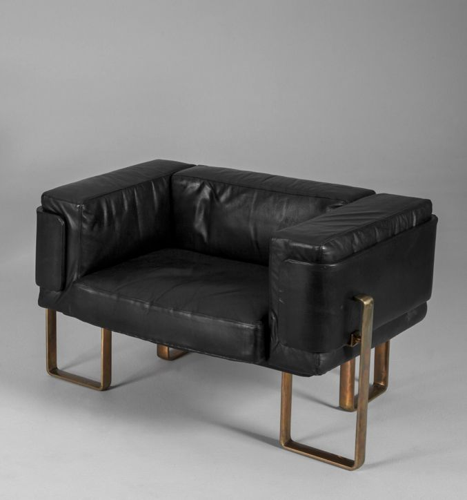 Esko Pajamies Leather And Bronzed Metal Lounge Chairs For