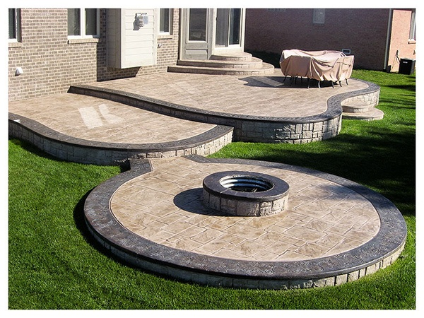 Stamped Concrete With Fire Pit Outdoor Livin39 Pinterest