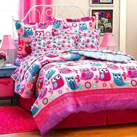 Nature HOOT OWLS & Flowers Girls Pink Teal Twin Size ...
