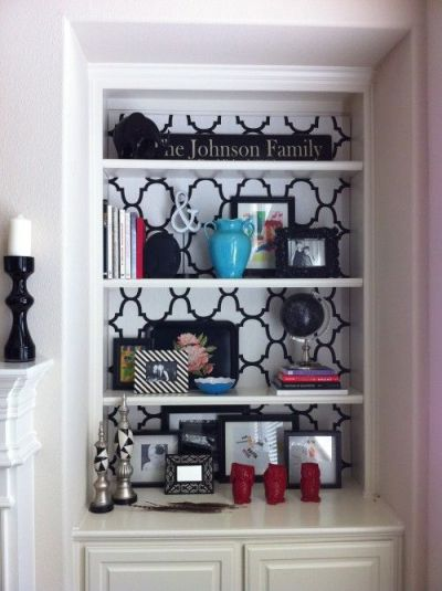 Before & After Bookshelf. Cover the back of a bookcase with fabric or wallpaper for a different ...