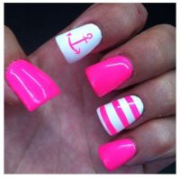 "Anchor nail white hot pink nails | ""FASHION, GIFTS & FOODS ..."