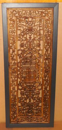 Vtg Oriental Filigree Carved Wood Panel Wall Hanging Asian ...