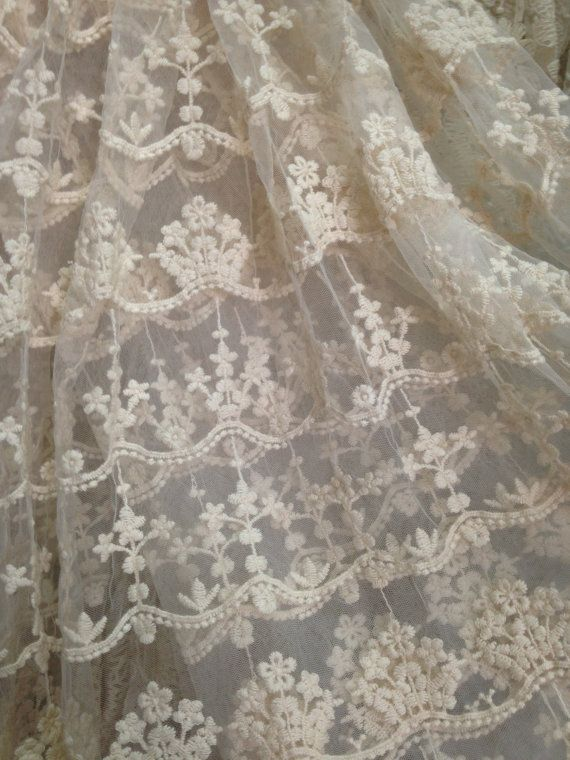 Bohemia Wallpaper 3d Ivory Lace Fabric Embroidered Tulle Lace Fabric Retro