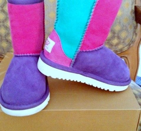 2013 Ugg Color Block Boots Multi Color Neon Patchwork