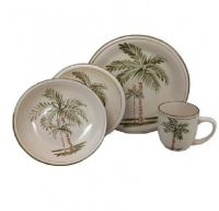 Palm Court Four PC Handpainted Place dinnerware TROPICAL ...
