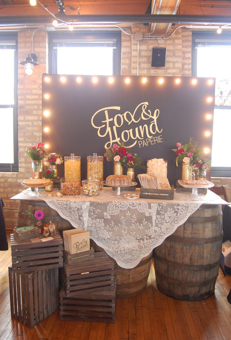 rustic candy bar wedding candy bar Rustic Wedding Candy Sweet Treat Table with Whiskey Barrel table by Fox Hound Paperie