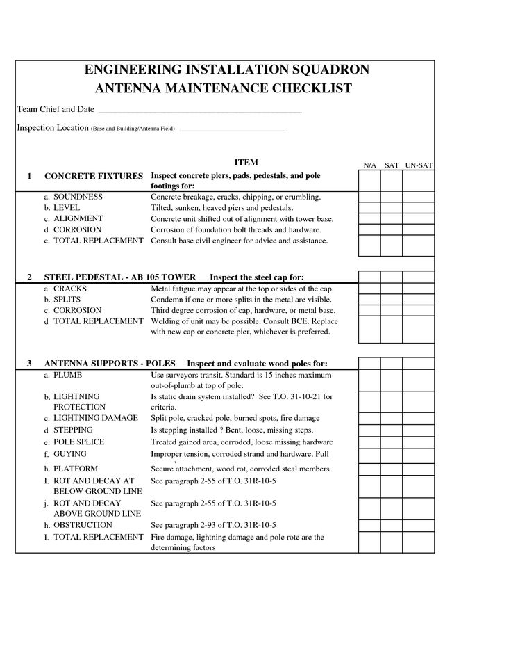 car maintenance checklist form